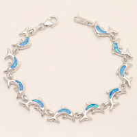 Australian Fire Opal Dolphin Charm Bracelet 925 Sterling Silver Fine Jewelry New