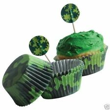 Camo Camouflage Kits 24 Cupcake Pick Liner Topper Kid Army Party Bakery Sup