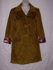 MISSONI for Target Trench Coat sz XS Mustard Green Yellow Wide Wale Corduroy