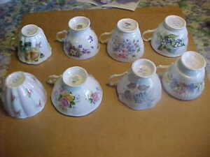 8 English Bone China Tea Cups Salisbury-Adderley-Tuscan-Queen:s-Regency-etc.