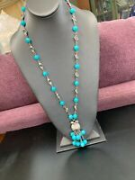 Vintage 1950's Pretty Aqua Turquoise Blue Lucite Beaded Tassel Tulip Necklace