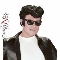 Mens 1950s Adult Black Greaser Wig Danny Teddy Boy 50's Quiff  Fancy Dress New