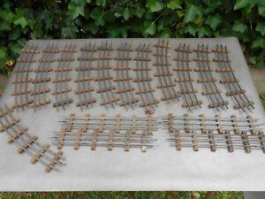 Lot 16 anciens rails avec traverses en bois pour train JEP LR BUCO échelle O