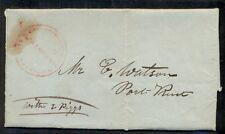 1835, folded letter w/red Steam Packet Franklin-Captain Sherman - Lake Champlain