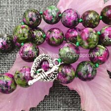 "Beautiful 12mm Green Ruby Gemstone Necklace 18"" Tibetan Silver Love Buckle"
