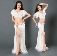 New Arrival 2016 Lace Belly Dance Costumes Club Stage 2Pcs Top&Long Skirt Dress