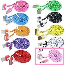 USB CHARGER CABLE for iPhone 4 4S 3G 3GS iPad iPod Color Flat