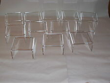 PACK OF 12 ACRYLIC PERSPEX CLEAR  DISPLAY RISERS  BRIDGES STAND PLINTH