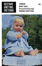 """VINTAGE KNITTING PATTERN  COPY - TO KNIT 20&25""""  DOLL'S OUTFIT IN  8PLY- 1960's"""