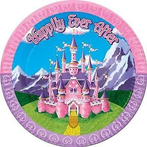 """Princess """"Happily Ever After"""" Party Dessert Plates 8pk - Princess Party Supplies"""