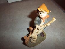 Vintage Young Boy in Shorts Playing a Mandolin with his Dog Figure Figurine