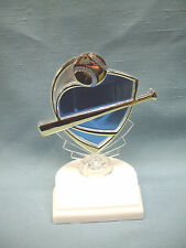 clear and blue Baseball trophy theme award weighted white base