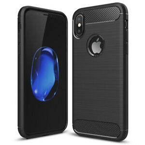 Custodia Silicone IPHONE 6 7 8 Plus XR X XS Max 11 12 Pro Case Protettiva Carbon