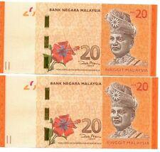MALAYSIA 20 Ringgit x 2 Unc Consecutive Pair (ND2012) BARGAIN!