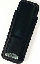 Black Leather 2 Cigar Case with Build-In Pouch with Cutter