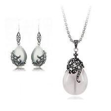 Vintage Hollow Teardrop Opal Imitation Jewellery Set Drop earrings necklace S943