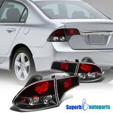 For 2006-2011 Honda Civic 4Dr Sedan Red/Clrar Tail Brake Lights Black