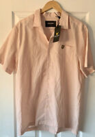 LYLE AND SCOTT PALE PINK COTTON LINEN MIX SHIRT L LARGE NEW