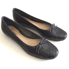 Trotters Womens Black Woven Leather Weave Ballet Flats Shoes Ribbon Bow Size 8N