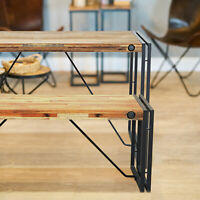Cosima Wooden Dining Table Bench Acacia Wood Rustic Black Metal Legs Modern