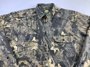 Mens Cabelas Heavy Duty Button Down Shirt Size XL Tall Camo Hunting Cotton