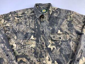 Mens Cabelas Heavy Duty Button Down Shirt Size XL Tall Camo Hunting Cotton