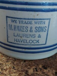 Red Wing Stoneware advertising butter crock M Hakes & Sons Laurens & Havelock IA