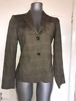 MASSIMO DUTTI, SIZE 38 BROWN SINGLE BREASTED CHECKED BLAZER/JACKET, PRE-LOVED