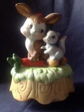 Cute vintage ceramic musical / moving figurine ornament Rabbit & Squirrel friend