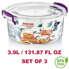 Round Food Cookie Container Box Set of 3 - BPA FREE  3.9L / 131.87 FL OZ