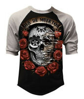 Men's Dia De Muertos Sugar Skull La Catrina Rose Raglan Baseball T Shirt Tee