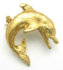 Angry Dolphin Pin Vintage Brooch Goldtone Tiny Leaping Porpoise Costume Jewelry