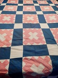 Vintage Hand Stitched  Red White and Blue Quilt Top  Cotton 91 x 76