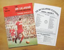 More details for liverpool v lancs xi ian callaghan testimonial friendly 1977/1978 inc team sheet