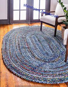 Beautiful Braided Oval Rug Home Decorative Floor Rug 4x6 Feet Cotton Area Rugs