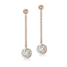 Elegant TT Rose Gold Stainless Steel Dangle Earrings Clear CZ (EW04Z) NEW