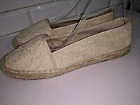 Franco Sarto Espadrille Flats Shoes Size 11M Artist Collection Beige Lace Canvas