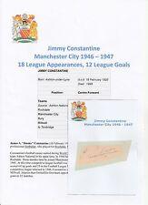 JIMMY CONSTANTINE MANCHESTER CITY 1946-1947 RARE ORIGINAL HAND SIGNED CUTTING