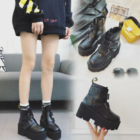 Women's Lace Up Creepers Platform Ladies Ankle Boots Chunky Heel Shoes Punk