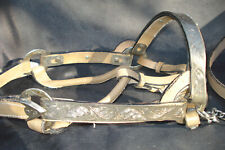 Antique Leather Bridal Horse Harness Strap Worked metal decor Western Americana