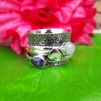 925 Sterling Silver Spinner Ring Jewelry Moonstone & Amethyst All Size DO-222