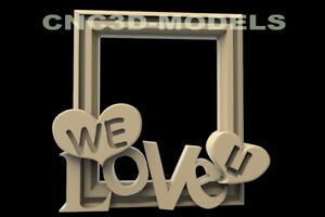 3D Model STL for CNC Router Carving Artcam Aspire Love Heart Frame Picture D87