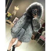 Women's Coat Hoodie Whole Skin Real Silver (Vulpes)Fox Fur Hooded Overcoat Gifts