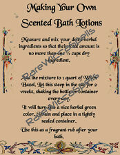 Make Your Own Scented Bath Lotions 1pg Recipe for Wicca Book of Shadows Poster