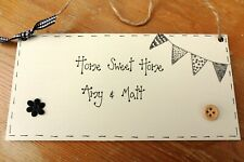 Home Sweet Home Personalised plaque bunting new home moving house gift