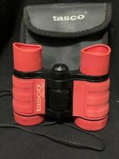 Rare Red Tasco Mini Binoculars 4 X 30 Gy / 302 ' @ 1000 Yds.with case