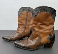 Stuart Weitzman Western Cowgirl Mid Calf Boots Brown Three Tone Studded 7.5 M