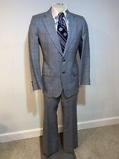 Vtg 60s 70s Gray Blue Plaid Leisure Suit Mens 40 Jacket 34 32 Pants Disco Wool