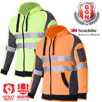 Hi Vis Jacket Hoodie Jumper 3M Reflective Fleece Zip AS/NZS 1906.4 4602.1:2011