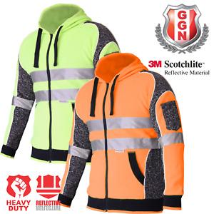 Hi Vis Jacket Hoodie Jumper 3M Reflective Fleece Zip AS/NZS 1906.4 4602.1:2011